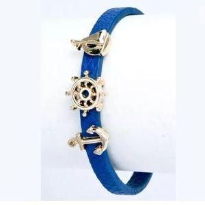 ❤️ Blue Faux Leather Sailboat Nautical Bracelet